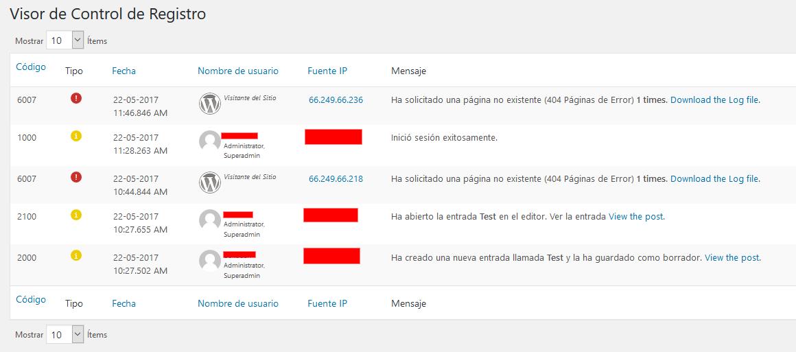 Ejemplo del Vistor de Control de Registro - WP Security Audit Log